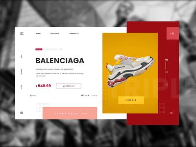 Balenciaga Web page concept design minimal symbol ui web design web  design landing page triple runners snickers shoes balenciaga 2019 branding concept sri lanka design simple typography ux ui