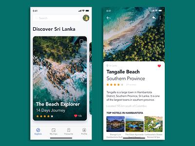 Travel iOS App ux design ui design product design phone beach sri lanka travel app store ui ux simple design concept typography branding ios android app design application design app