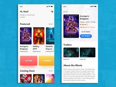 Movie app design - iOS mobile ironman movie app application design app design android ios branding typography design simple ux ui app store sri lanka phone product design ui design ux design