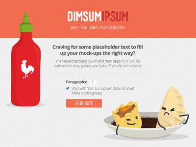 Dim Sum Ipsum illustration vector cartoon character character design sriracha lorem ipsum flat