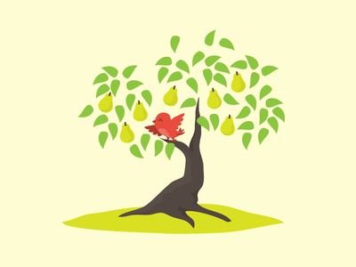 Partridge in a Pear Tree illustration vector flat tree bird 12daysofchristmas character design