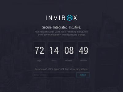 InviBox splash page splash page landing page website countdown email clean
