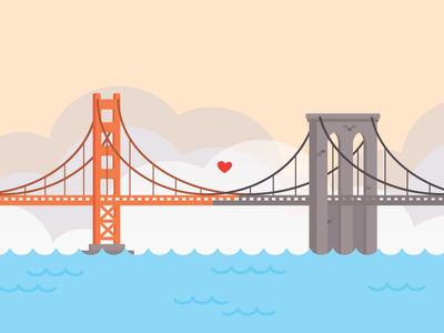 Let's meet in the middle illustration vector bridge golden gate bridge brooklyn bridge san francisco new york city brooklyn