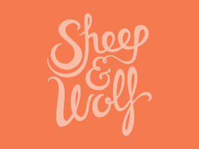Sheep and Wolf lettering logo logotype typography script sheep wolf ampersand