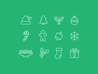 Holly Jolly Icons icon illustration vector holiday christmas hanukkah kwanzaa
