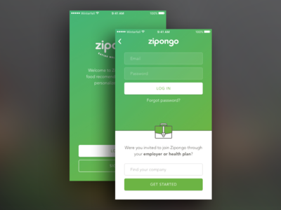 Zipongo log in illustration icon briefcase business interface ui product mobile sign up log in