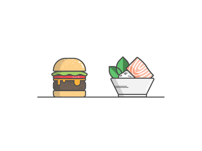 Decisions decisions dish meal salmon burger icon vector food illustration