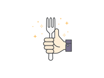 Good job on eating healthy hand eat stars congratulations congrats good job sparkle fork thumbs up illustration