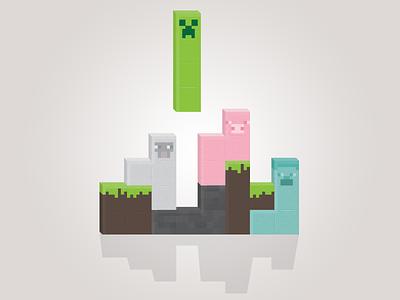 Minecraft Meets Tetris illustration minecraft tetris character design blocks square