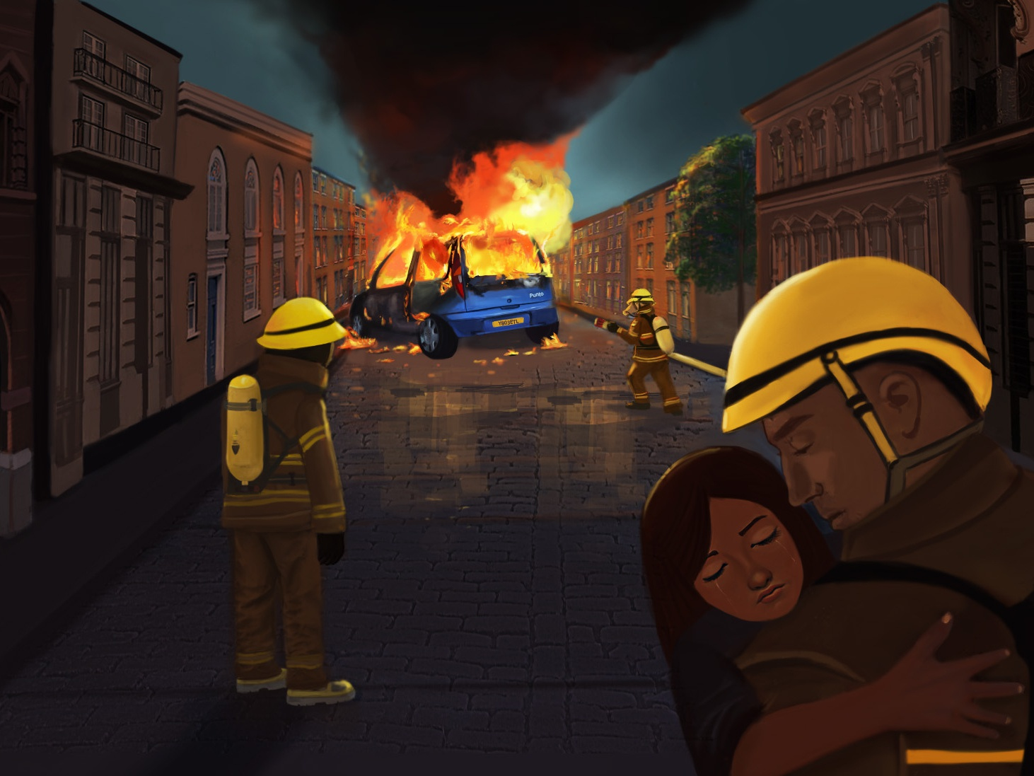 Digital painting firefighters 2d art cocept art digital paintinng
