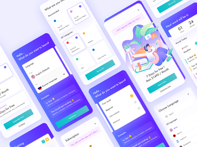 Learning English App mobile app design notifications learning platform learning vocabulary module translate course app elearning learning app mobile ui mobile design illustration clean ux ui