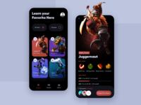Dota 2 Streaming App dota2 mobile app design mobile ui uidesign juggernaut clean ui gaming app mobile design app design dota 2 illustrations ux ui