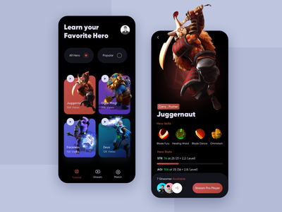 Dota 2 Streaming App dota2 mobile app design mobile ui uidesign juggernaut clean ui gaming app mobile design app design dota 2 illustrations ux ui