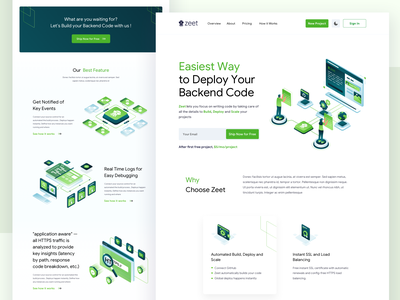 Zeet Landing Page isometric art green startup networking database bitbucket gitlab github coding deployment isometric illustration isometric website branding illustrations landingpage webdesign clean ux ui