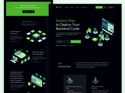 Zeet Landing Page Dark Mode isometric illustration isometric icons isometric art isometric landing page design landing page dark mode startup development deployment gitlab github bitbucket networking website illustrations landingpage webdesign ux ui