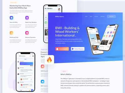 BWEye Landing Page ui illustration app landing template app landing page monitoring network clients gradient color marketing site illustrations landingpage webdesign clean ux ui