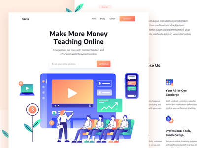Web Design - Teaching Online flatdesign online teaching teaching elearning elearning courses online course creators online sell video creators online video flat illustration illustrations landingpage webdesign clean ux ui