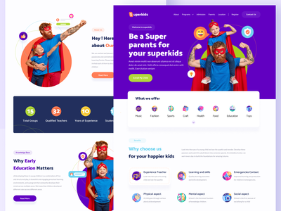 Superkids Landing page kids illustration therapy education daycare healthy children child development kids school parents kids illustrations landingpage webdesign clean ux ui