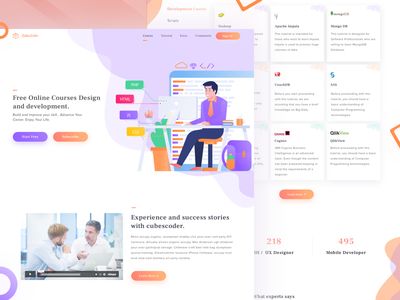 Online Course design development illustrations onlinecourse webdesign landingpage
