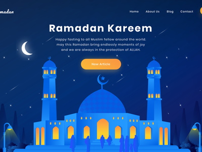 Ramadan Kareem Header webdesign dark mosque ux ui landingpage header illustration ramadan