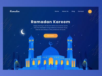 Ramadan Kareem Header webdesign dark mosque ux ui landingpage header illustration ramadan