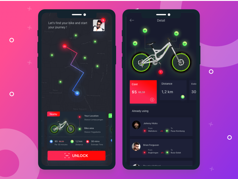 Bike Sharing App Exploration bikers red share bike mock ups ios app icon typography development dark ux ui