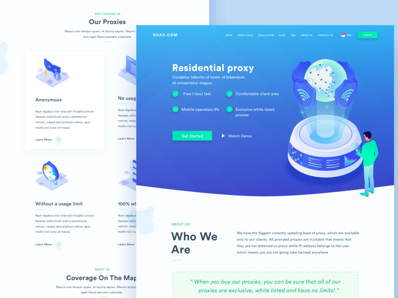 Residential proxy website redesign network security cyber networking security proxy branding illustration illustrations header typography design website development landingpage clean webdesign ux ui