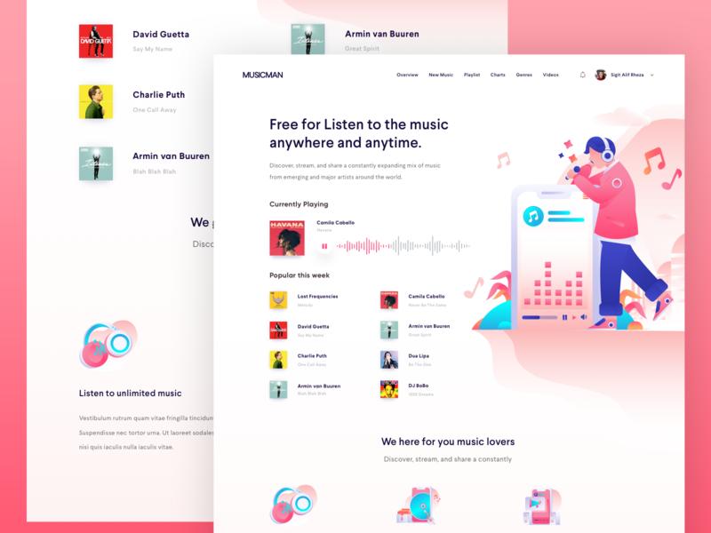 Music Streaming Website icons design flat illustrations illustrations music streaming vector header illustration landingpage webdesign clean ux ui