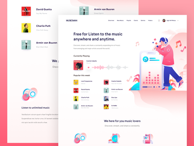 Music Streaming Website icons design flat illustrations illustrations music streaming vector header illustration landingpage webdesign clean ux ui