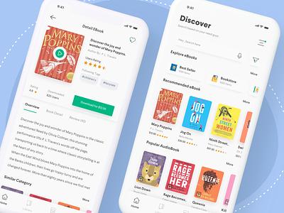 eBook & Audiobook app minimalist clean mobile app design ios book app illustrations ui  ux knowledge reading app audiobooks ebook app