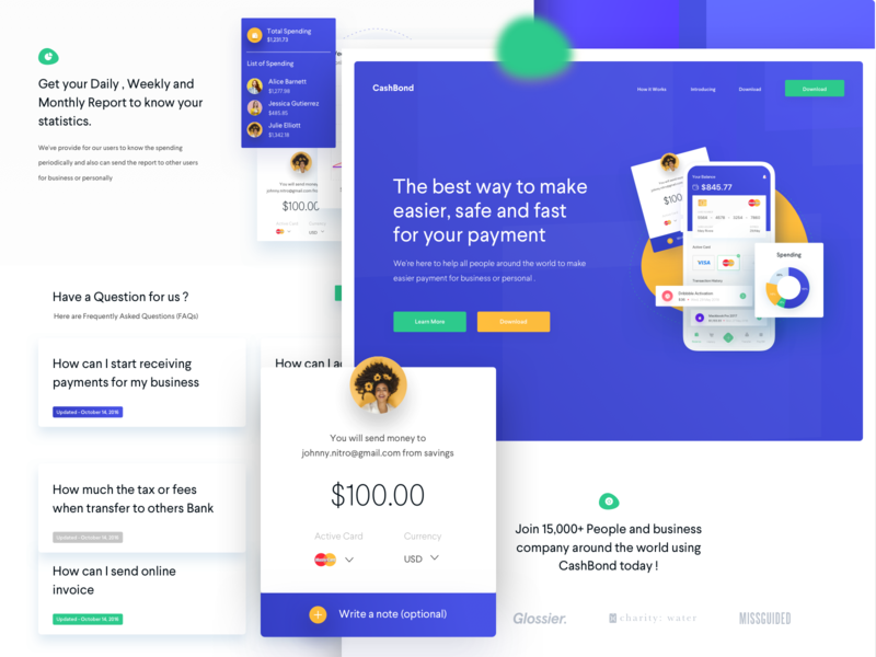 CashBond Payment Landing Page payment development typography design branding transfer blue android ios app fintech payments website landingpage webdesign clean ux ui