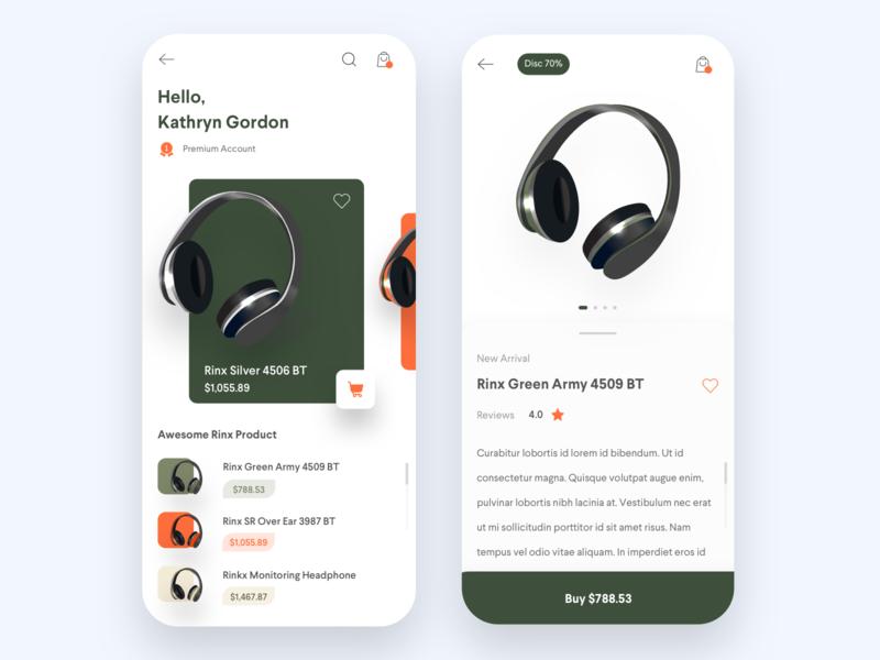 Online Shop - Headphone application mobile app mobile design ios ecomerce online shop headphones app design design clean ux ui