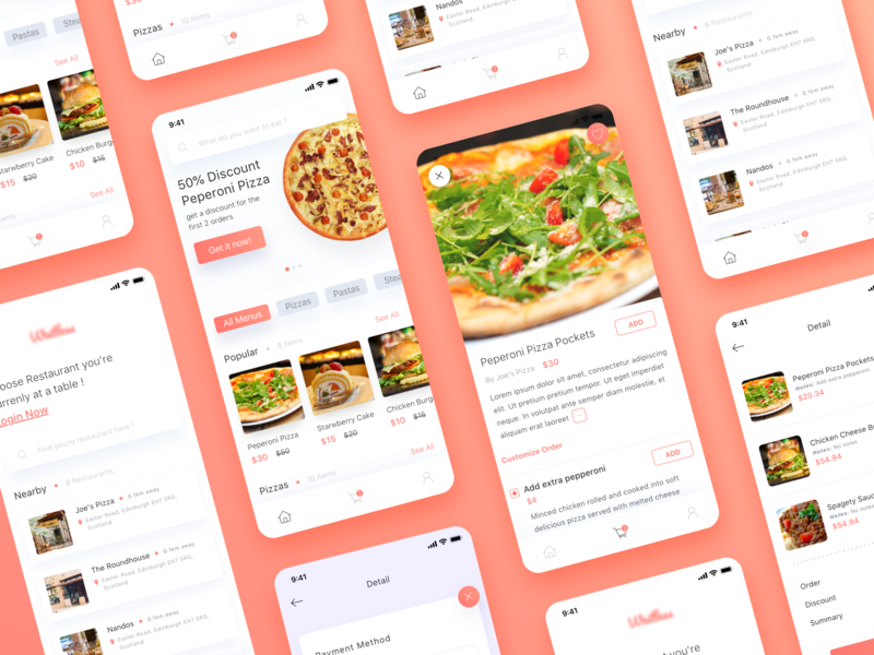 Food Order App mockup hungry food delivery app app design ios app delivery payment order food app ios clean ux ui