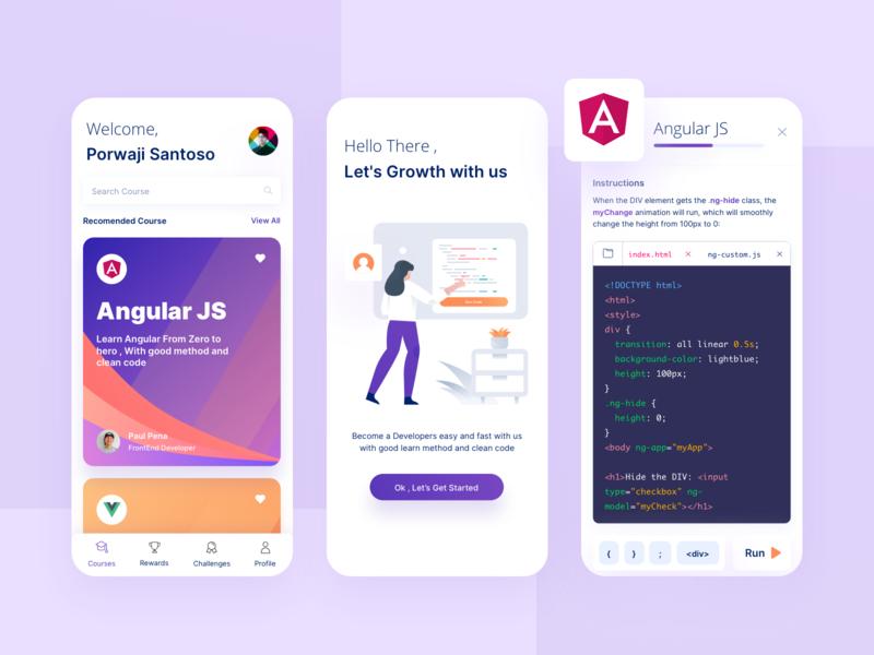 Programming Course App simple design mobile app design mobile app angularjs coding programming app online course ios design mobile design development illustration clean ux ui