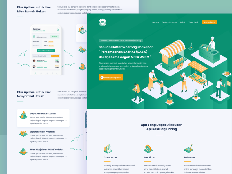 Bagii Piring Landing Page donations food donation charity landingpage illustrations webdesign ux ui