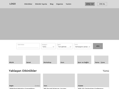 Event Search and Ticket Sale Website ticket booking design wireframe