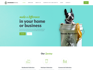 Rhodeside Revival shop services compositing compost business design typography professional wordpress design wordpress development wordpress webdesign upqode