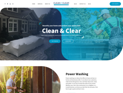 Clean & Clear cleaning company cleaning service branding design agency business professional wordpress design wordpress development wordpress webdesign upqode