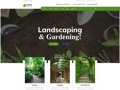 Karma Gardening gardening services landscaping gardening modern wordpress theme business typography professional wordpress design wordpress development wordpress webdesign upqode