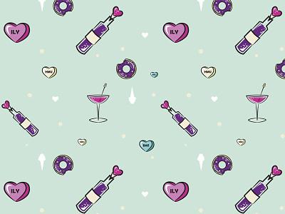 Valentine's Pattern donut wine seamless pattern vector pattern valentines day valentine