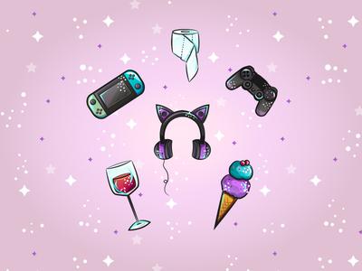 Quarantine Essentials toiletpaper switch ps4 video game ice cream wine vector illustration vector quarantine
