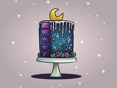 Galaxy Cake vector illustration vector moon space galaxy cake cake galaxy