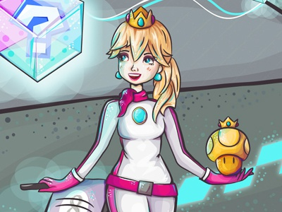 Racer Peach character illustration vector mariokart mario kart peach mario princess peach