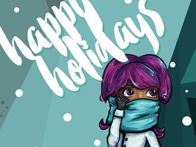 Happy Holidays! xmas character vector girls christmas holidays happy