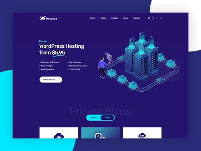 Hostinza - Isometric Domain & Web Hosting Wordpress Theme branding wordpress development wordpress design wordpress whmcs website web web hosting ui ux vector typography domains isometric design isometric illustration illustration design hosting template hosting domain