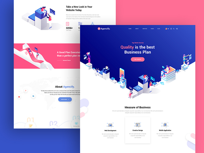 Agmycoo - Isometric Agency Creative Portfolio Html Template flat app wordpress animation vector design isometric design isometric illustration design illustration branding website web ux ui typography