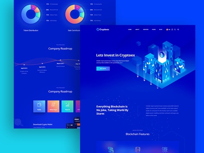 Trypto ICO and Cryptocurrency Landing Page HTML Template landing design landing page design landing page landing crypto exchange crypto wallet crypto animation vector design isometric design isometric illustration design illustration branding website web ux ui typography