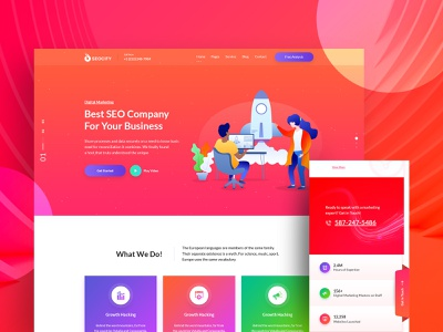 Seocify  Seo And Digital Marketing Agency Wordpress Theme seo company seo agency agency wordpress development wordpress design agency landing page wordpress animation vector design isometric design isometric illustration design illustration branding website web ux ui typography