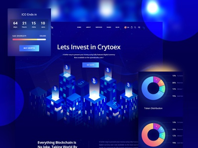 Trypto ICO and Cryptocurrency Landing Page HTML Template agency agency branding portfolio agency landing page animation vector typography design isometric design isometric illustration design illustration branding website web ux ui