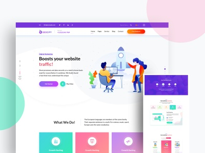Seocify Seo And Digital Marketing Agency Wordpress Theme seo agency seo agency branding portfolio agency wordpress development wordpress design wordpress agency landing page vector design isometric design isometric illustration design illustration branding website web ux ui